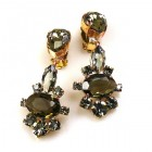 Marlene Earrings Clips ~ Smoke Crystal