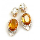 Ovals Clips-on Earrings ~ Crystal Topaz
