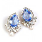 Paris Charm Pierced Earrings ~ Crystal with Sapphire