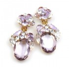 Fiore Clips Earrings ~ Violet Ovals with Clear Crystal
