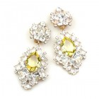 Beaute Earrings with Clips ~ Crystal with Yellow