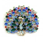 Peacock Brooch #1 ~ Blue Multicolor