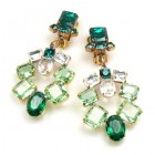Xia Earrings Clips ~ Emerald Green