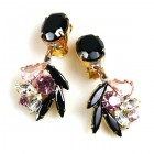 Close to Heaven Clips Earrings ~ Pink Crystal Black