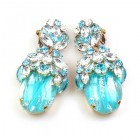 Lucrecia Extra Elipse Earrings Long Clips ~ Aqua