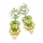 Iris Grande Pierced Earrings ~ Green Yellow