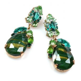 Fountain Earrings Pierced ~ Green with Gold Olive