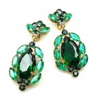 Sonatine Earrrings with Clips ~ Emerald Green