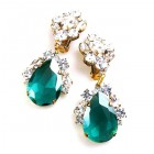 Fountain Clips-on Earrings ~ Clear Crystal Emerald