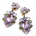 Sweet Temptation Earrings Clips ~ Violet Smoke Crystal