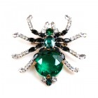 Little Spider Pin ~ Emerald and Clear Crystal