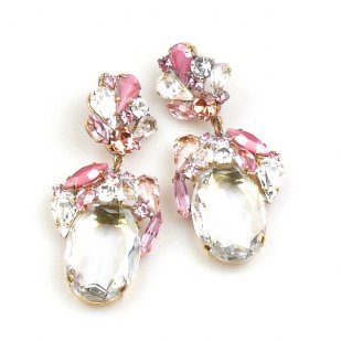 Fiore Pierced Earrings ~ Clear Crystal with Pink
