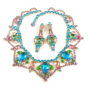 Roxanne Necklace Set with Earrings ~ Pastel with Aqua