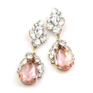 Fountain Earrings for Pierced Ears ~ Clear with Pink