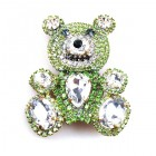 Teddy Bear Pin ~ Clear Crystal and Green