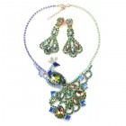 Peacock Necklace with Long Earrings ~ Emerald and Vitral