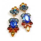 Iris Grande Clips Earrings ~ Blue Topaz
