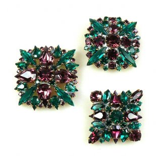 3 pc. Rhinestone Buttons Collection ~ Emerald Purple