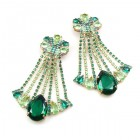 Misty Haze Earrings Clips-on ~ Green Emerald