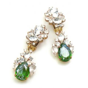 Timeless Clips on Earrings ~ Crystal with Silver Green