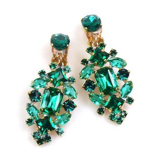 Fatal Touch Earrings Clips-on ~ Emerald