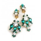Fatal Kiss Earrings Clips-on ~ Emerald Clear Crystal