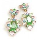Sweet Temptation Earrings Clips ~ Green with Pastel Colors