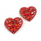 Red Hearts Barrette ~ Pair