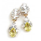 Timeless Clips on Earrings ~ Crystal with Yellow