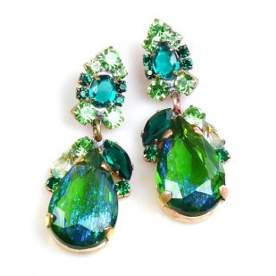 Fountain Multicolor Earrings Pierced ~ Silver Green Emerald
