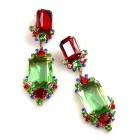 Pearlesque Earrings Pierced ~ Green Multicolor