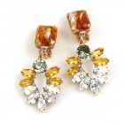 Perceive Earrings with Clips ~ Topaz Clear Crystal