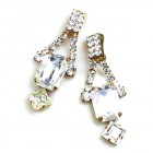 Crystal Shine Earrings with Clips ~ Clear Crystal