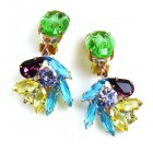 Close to Heaven Clips Earrings ~ Green Multicolor