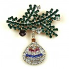 Twig with Ornament Xmas Pin #3