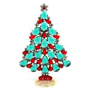 2018 Xmas Tree Stand-up Decoration 15cm ~Emerald Red