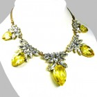 Camilla Necklace ~ Clear Crystal with Silver Yellow