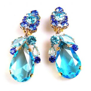 Fountain Clips-on Earrings ~ Aqua Tones with Aqua