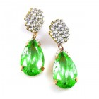 Drops Earrings #1 Pierced ~ Clear with Silver Green