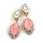 Tears Clips-on Earrings ~ Crystal with Opaque Pink