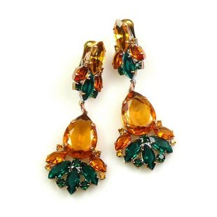 Fancy Essence Earrings Clips ~ Topaz Emerald
