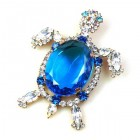 Turtle Brooch ~ Blue with Clear Crystal