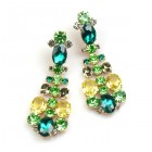 Dione Earrings Pierced ~ Green Tones with Yellow