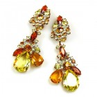 Parisienne Bloom Earrings Clips ~ Amber Treasure