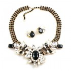 Nebthet Necklace Set with Earrings ~ White Crystal Black
