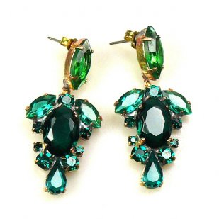 Raquel Earrings Pierced ~ Emerald