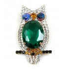 Owl Brooch ~ Emerald
