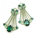 Misty Haze Earrings Pierced ~ Green Emerald
