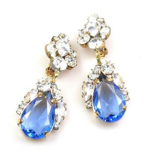 Fountain Clips-on Earrings ~ Clear with Sapphire