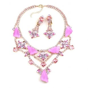 Picasso Jewelry Set with Earrings ~ Fuchsia with Violet